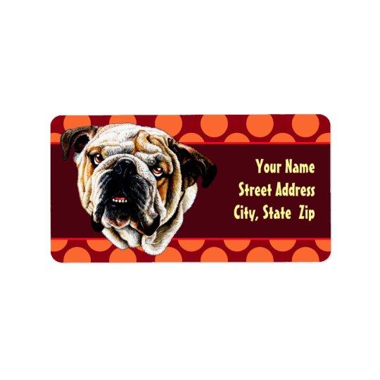 Bulldog Face Address Label