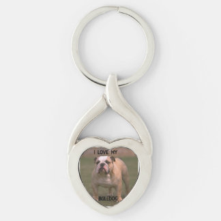 bulldog fawn and white love w pic Silver-Colored twisted heart key ring