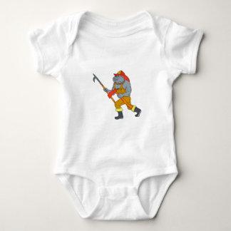 Bulldog Firefighter Pike Pole Fire Axe Drawing Baby Bodysuit