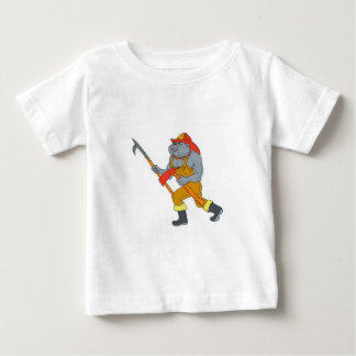 Bulldog Firefighter Pike Pole Fire Axe Drawing Baby T-Shirt