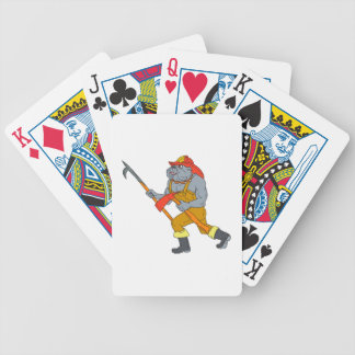 Bulldog Firefighter Pike Pole Fire Axe Drawing Bicycle Playing Cards