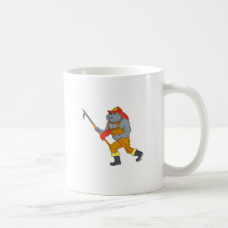 Bulldog Firefighter Pike Pole Fire Axe Drawing Coffee Mug