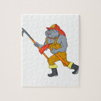 Bulldog Firefighter Pike Pole Fire Axe Drawing Jigsaw Puzzle