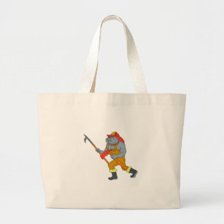 Bulldog Firefighter Pike Pole Fire Axe Drawing Large Tote Bag