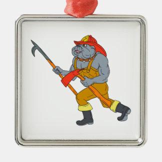 Bulldog Firefighter Pike Pole Fire Axe Drawing Metal Ornament