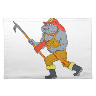 Bulldog Firefighter Pike Pole Fire Axe Drawing Placemat