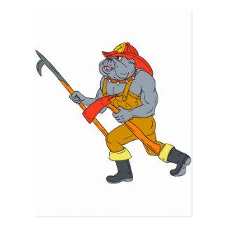 Bulldog Firefighter Pike Pole Fire Axe Drawing Postcard