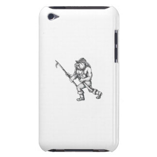 Bulldog Firefighter Pike Pole Fire Axe Tattoo Barely There iPod Case