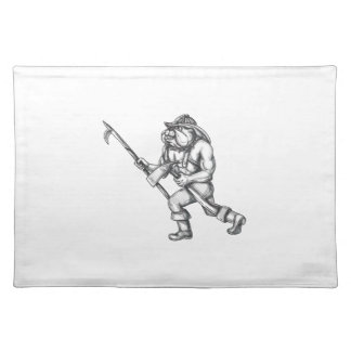 Bulldog Firefighter Pike Pole Fire Axe Tattoo Placemat