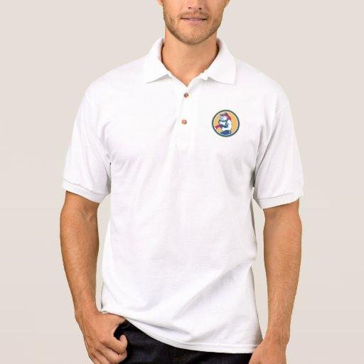 Bulldog Fireman With Axe Circle Retro Polo Shirt