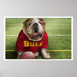 Bulldog Football Time Art Print Poster