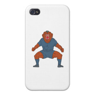 Bulldog Footballer Celebrating Goal Cartoon Case For The iPhone 4