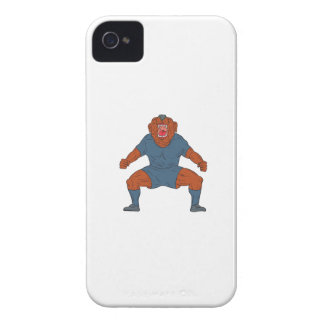 Bulldog Footballer Celebrating Goal Cartoon Case-Mate iPhone 4 Case