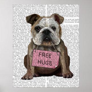 Bulldog Free Hugs Poster
