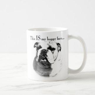 Bulldog Happy Face Basic White Mug