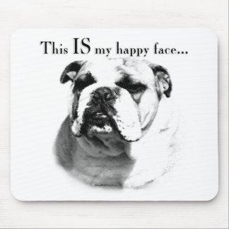 Bulldog Happy Face Mouse Pad