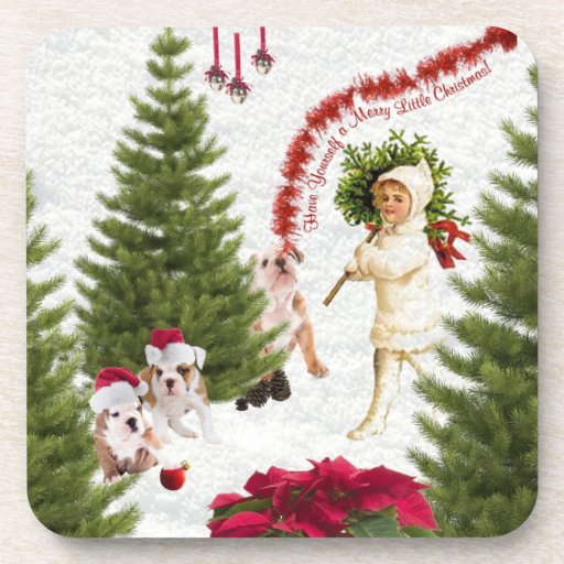 Bulldog Have Yourself a Merry Little Christmas Drink Coasters
