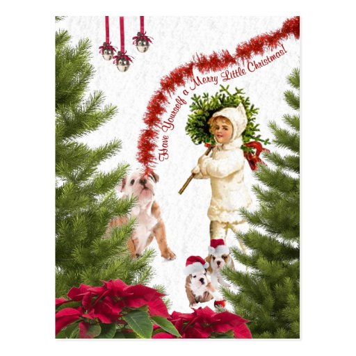 Bulldog Have Yourself a Merry Little Christmas Post Card