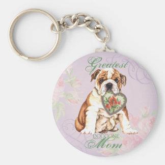 Bulldog Heart Mom Key Ring