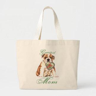 Bulldog Heart Mom Large Tote Bag