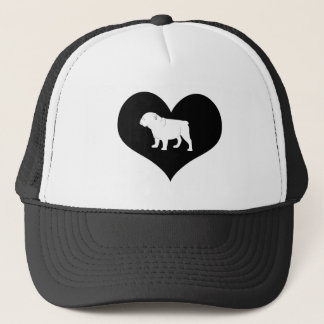 Bulldog in a Heart Trucker Hat