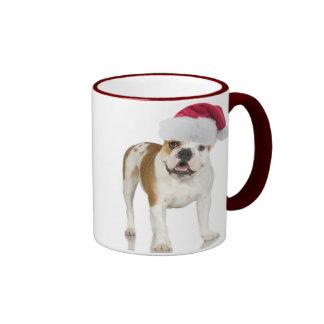 Bulldog In Santa Hat Christmas Mugs