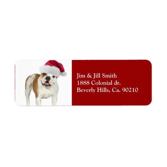 Bulldog In Santa Hat Christmas Return Address Label