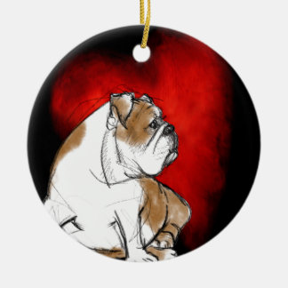 Bulldog Love Ceramic Ornament