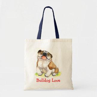 Bulldog Love Happy Bulldog Cartoon Canvas Tote Bag