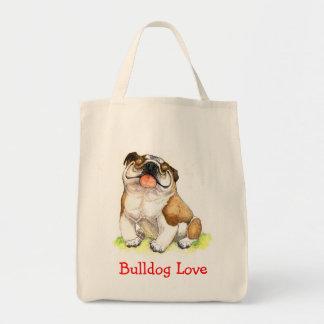 Bulldog Love Happy Cartoon Organic Grocery ToteBag
