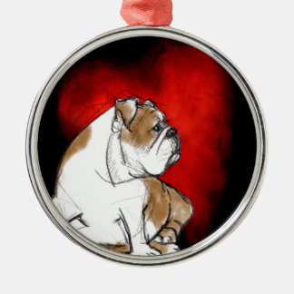 Bulldog Love Metal Ornament
