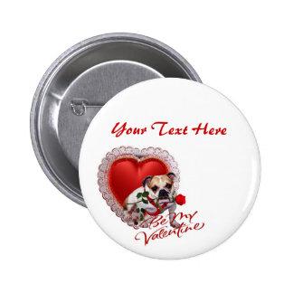 Bulldog Maddie Red Rose Valentine Design Pins