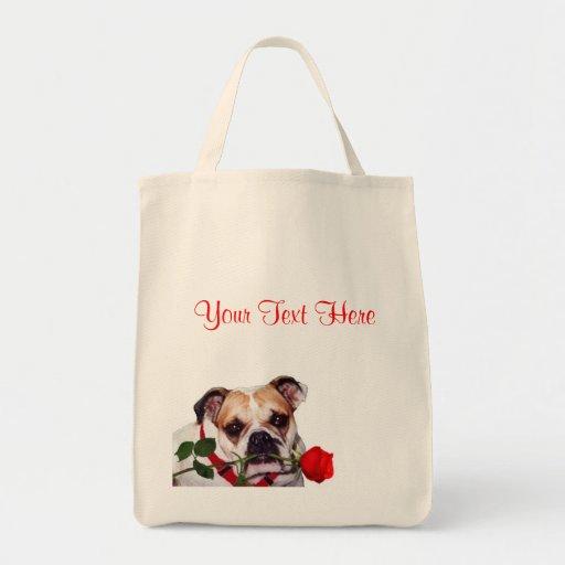 Bulldog Maddie Red Rose Valentine Design Bags