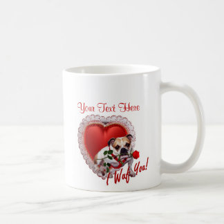 Bulldog Maddie Red Rose Valentine Design Basic White Mug