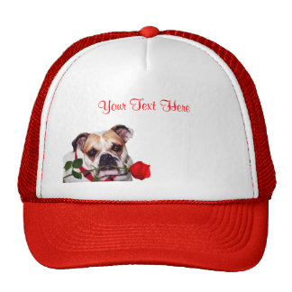 Bulldog Maddie Red Rose Valentine Design Cap