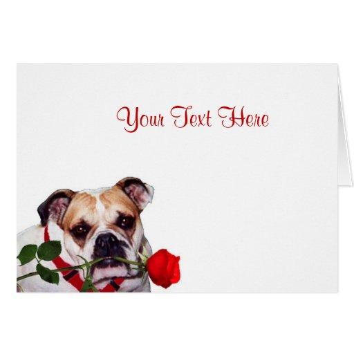 Bulldog Maddie Red Rose Valentine Design Greeting Cards