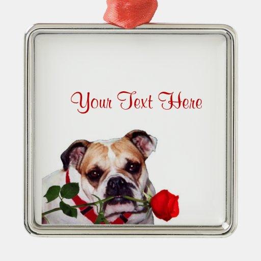 Bulldog Maddie Red Rose Valentine Design Christmas Tree Ornaments