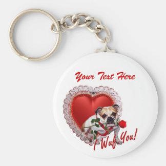 Bulldog Maddie Red Rose Valentine Design Key Chain