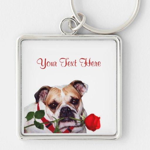Bulldog Maddie Red Rose Valentine Design Keychains