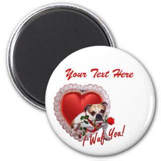 Bulldog Maddie Red Rose Valentine Design Magnet