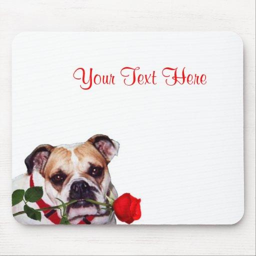 Bulldog Maddie Red Rose Valentine Design Mousepad