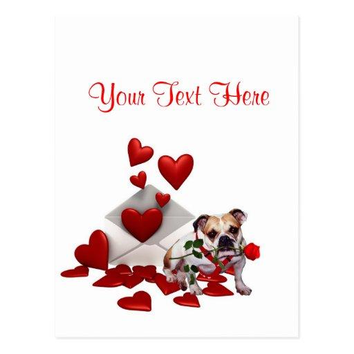 Bulldog Maddie Red Rose Valentine Design Post Card