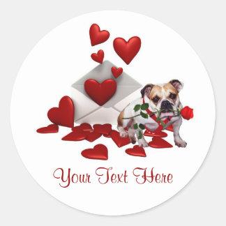 Bulldog Maddie Red Rose Valentine Design Round Sticker