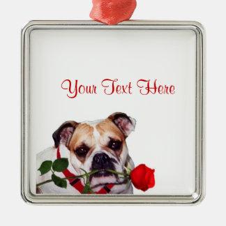Bulldog Maddie Red Rose Valentine Design Silver-Colored Square Decoration
