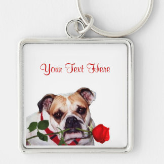 Bulldog Maddie Red Rose Valentine Design Silver-Colored Square Key Ring