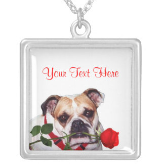Bulldog Maddie Red Rose Valentine Design Square Pendant Necklace