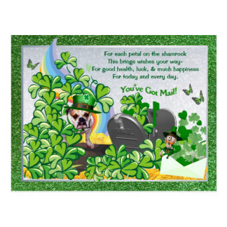 Bulldog Maddie St Patty's You've Got Mail Postcard