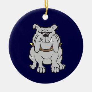 Bulldog Mascot on Blue Ceramic Ornament
