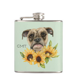Bulldog Mix with Sunflower | Add Your Initials Hip Flask