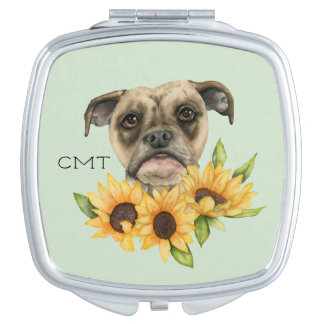 Bulldog Mix with Sunflowers   Add Your Initials Makeup Mirror